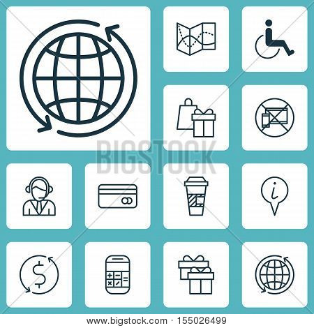 Set Of Travel Icons On Info Pointer, Road Map And Shopping Topics. Editable Vector Illustration. Inc