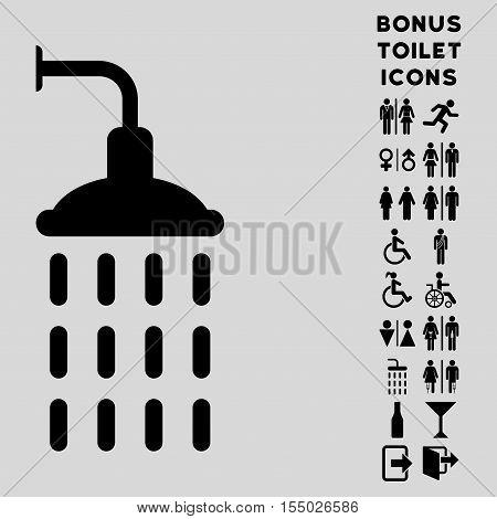 Shower icon and bonus man and female lavatory symbols. Vector illustration style is flat iconic symbols, black color, light gray background.
