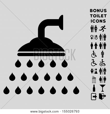Shower icon and bonus man and lady toilet symbols. Vector illustration style is flat iconic symbols, black color, light gray background.