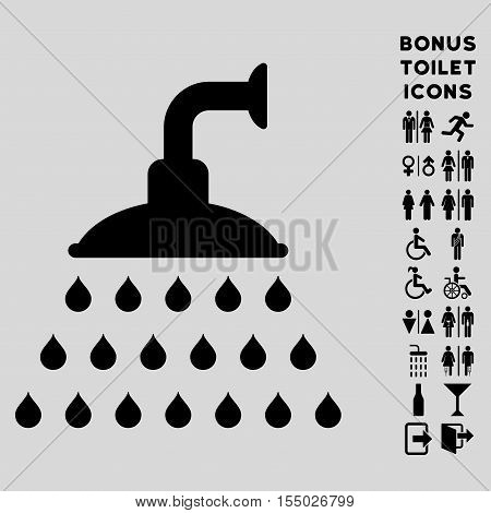 Shower icon and bonus male and female toilet symbols. Vector illustration style is flat iconic symbols, black color, light gray background.