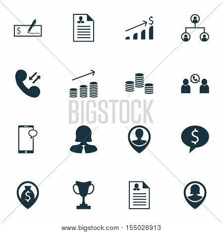 Set Of Hr Icons On Pin Employee, Money And Tree Structure Topics. Editable Vector Illustration. Incl