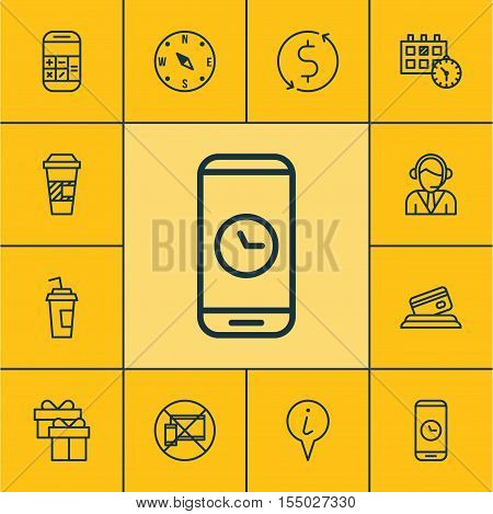 Set Of Airport Icons On Takeaway Coffee, Forbidden Mobile And Call Duration Topics. Editable Vector