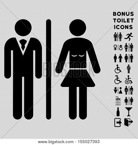 Toilet Persons icon and bonus gentleman and female restroom symbols. Vector illustration style is flat iconic symbols, black color, light gray background.