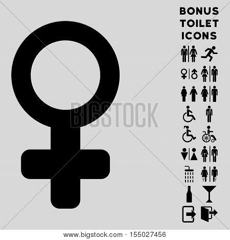 Venus Symbol icon and bonus male and woman WC symbols. Vector illustration style is flat iconic symbols, black color, light gray background.