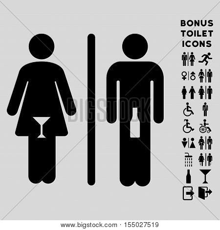 WC Persons icon and bonus man and female lavatory symbols. Vector illustration style is flat iconic symbols, black color, light gray background.