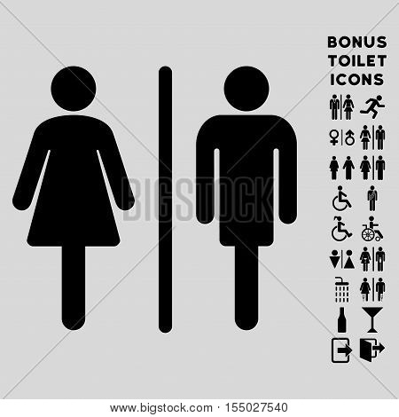 WC Persons icon and bonus gentleman and woman WC symbols. Vector illustration style is flat iconic symbols, black color, light gray background.