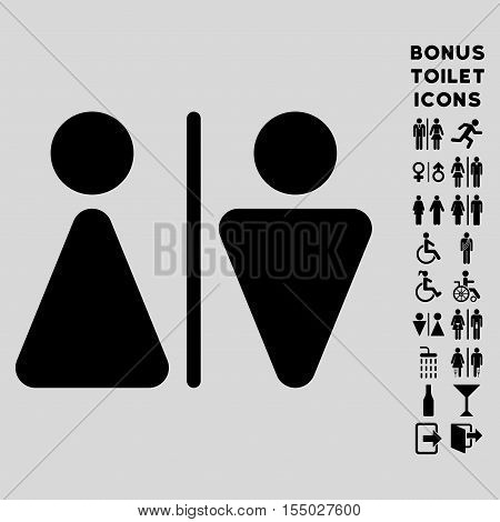 WC Persons icon and bonus male and woman WC symbols. Vector illustration style is flat iconic symbols, black color, light gray background.