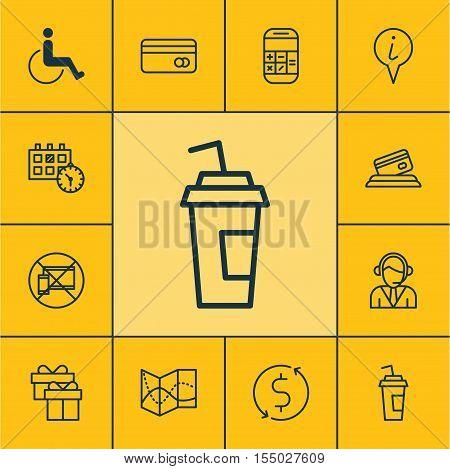 Set Of Transportation Icons On Present, Plastic Card And Credit Card Topics. Editable Vector Illustr