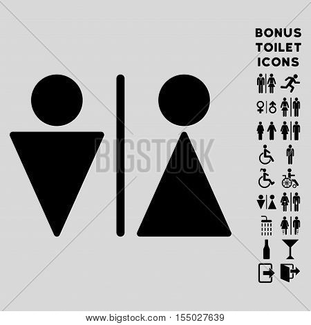 WC Persons icon and bonus gentleman and lady WC symbols. Vector illustration style is flat iconic symbols, black color, light gray background.