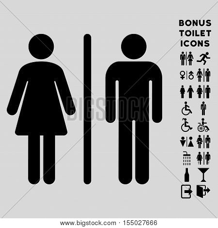 WC Persons icon and bonus gentleman and woman lavatory symbols. Vector illustration style is flat iconic symbols, black color, light gray background.