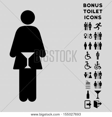 WC Woman icon and bonus male and lady restroom symbols. Vector illustration style is flat iconic symbols, black color, light gray background.