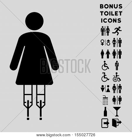 Woman Crutches icon and bonus man and female WC symbols. Vector illustration style is flat iconic symbols, black color, light gray background.