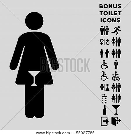 Woman icon and bonus male and female restroom symbols. Vector illustration style is flat iconic symbols, black color, light gray background.