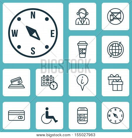 Set Of Travel Icons On Info Pointer, World And Present Topics. Editable Vector Illustration. Include