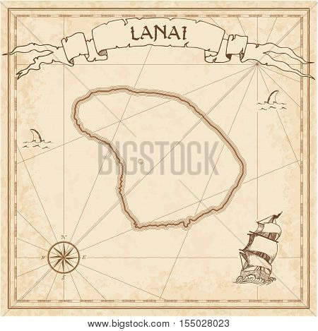 Lanai Old Treasure Map. Sepia Engraved Template Of Pirate Island Parchment. Stylized Manuscript On V