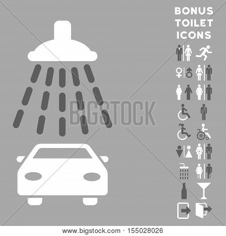 Car Shower icon and bonus gentleman and lady restroom symbols. Vector illustration style is flat iconic bicolor symbols, dark gray and white colors, silver background.