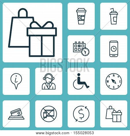 Set Of Airport Icons On Operator, Forbidden Mobile And Credit Card Topics. Editable Vector Illustrat