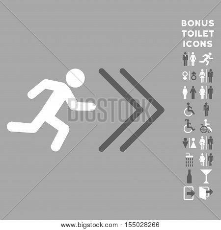 Exit Direction icon and bonus man and woman toilet symbols. Vector illustration style is flat iconic bicolor symbols, dark gray and white colors, silver background.
