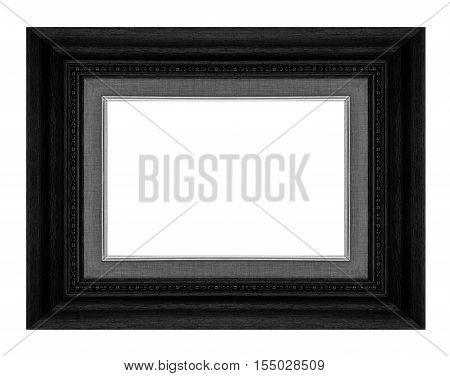 Antique Picture Wood Frame Isolated On White Background, Tracery Beautiful Small Flowers, Clipping P
