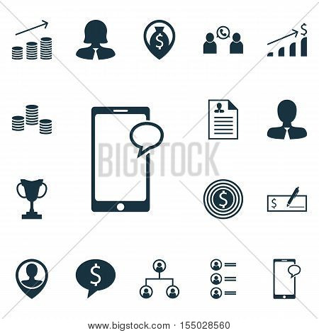 Set Of Management Icons On Employee Location, Money Navigation And Business Woman Topics. Editable V