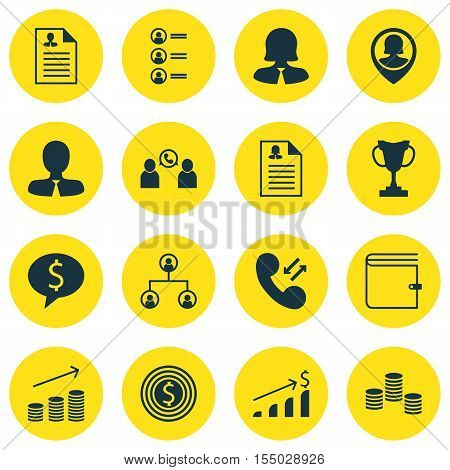 Set Of Hr Icons On Money, Job Applicants And Manager Topics. Editable Vector Illustration. Includes