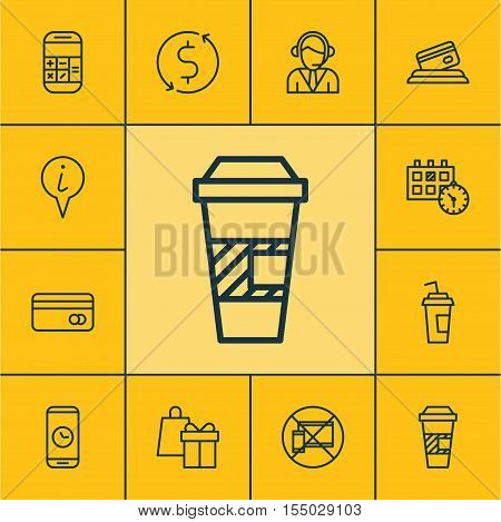 Set Of Traveling Icons On Call Duration, Drink Cup And Takeaway Coffee Topics. Editable Vector Illus
