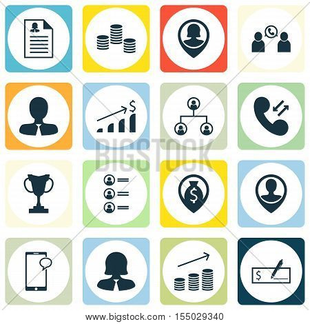 Set Of Human Resources Icons On Employee Location, Money Navigation And Money Topics. Editable Vecto