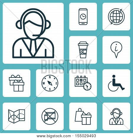 Set Of Travel Icons On Operator, Accessibility And Shopping Topics. Editable Vector Illustration. In
