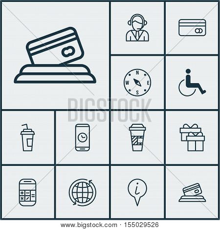 Set Of Traveling Icons On Takeaway Coffee, Plastic Card And Calculation Topics. Editable Vector Illu