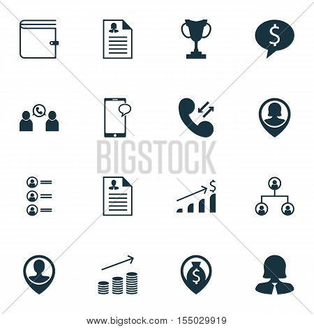Set Of Management Icons On Coins Growth, Wallet And Phone Conference Topics. Editable Vector Illustr