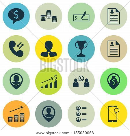 Set Of Human Resources Icons On Employee Location, Messaging And Manager Topics. Editable Vector Ill