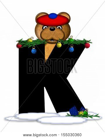 Alphabet Teddy Christmas Boughs K