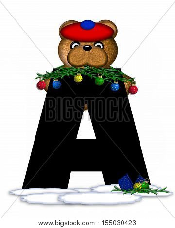 Alphabet Teddy Christmas Boughs A