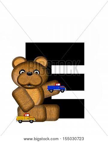 Alphabet Teddy Driving Cars E