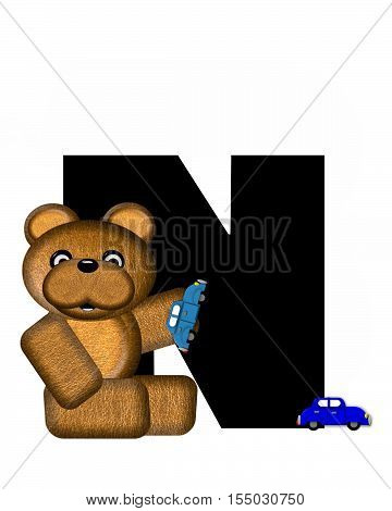 Alphabet Teddy Driving Cars N