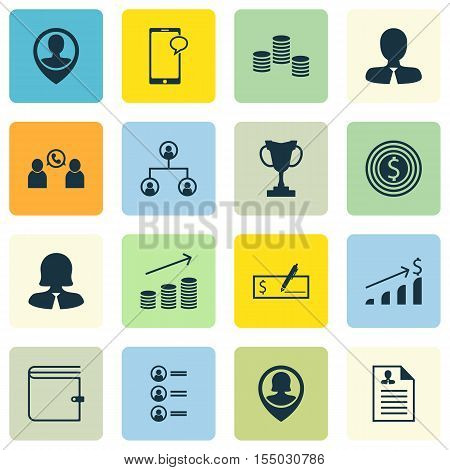Set Of Human Resources Icons On Curriculum Vitae, Job Applicants And Employee Location Topics. Edita