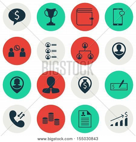 Set Of Management Icons On Money, Bank Payment And Employee Location Topics. Editable Vector Illustr