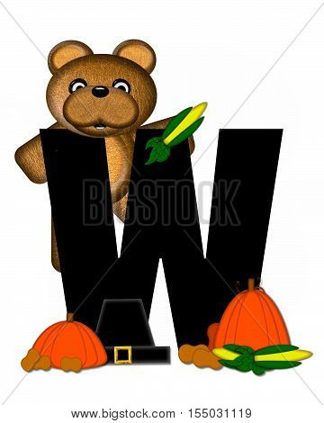 Alphabet Teddy Thanksgiving W
