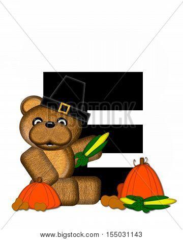 Alphabet Teddy Thanksgiving E