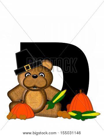 Alphabet Teddy Thanksgiving D