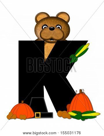 Alphabet Teddy Thanksgiving K