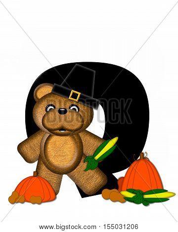 Alphabet Teddy Thanksgiving O