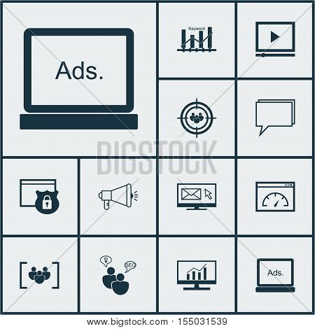 Set Of Advertising Icons On Market Research, Seo Brainstorm And Video Player Topics. Editable Vector
