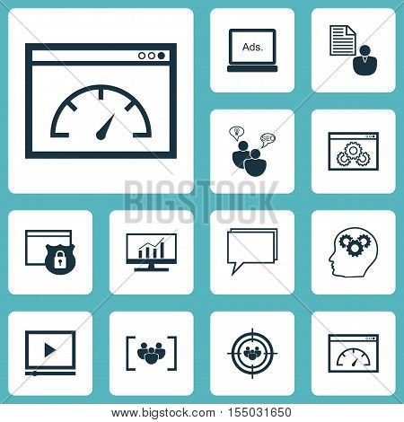 Set Of Advertising Icons On Website Performance, Brain Process And Report Topics. Editable Vector Il