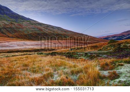 Early frosty morning in Fairy Pools Glen Brittle Isle of Skye Inner Hebrides Highlands Scotland
