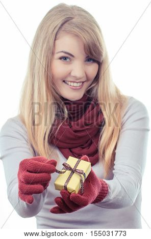 Vintage Photo, Woman In Gloves Opening Gift For Christmas Or Other Celebration