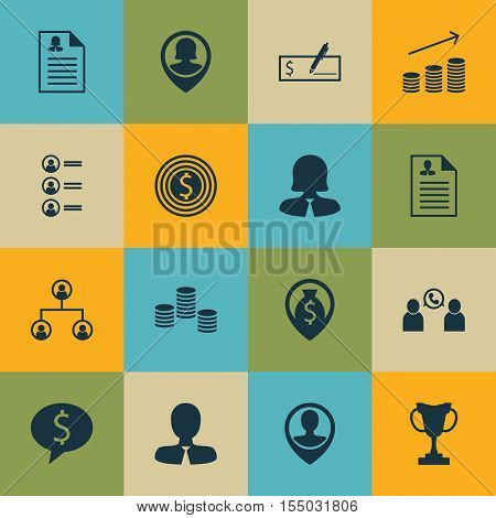 Set Of Human Resources Icons On Business Deal, Tournament And Employee Location Topics. Editable Vec
