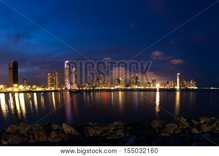 Night Fall In Panama City, Panama
