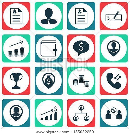 Set Of Human Resources Icons On Tree Structure, Money And Money Navigation Topics. Editable Vector I