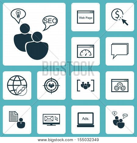 Set Of Marketing Icons On Questionnaire, Digital Media And Loading Speed Topics. Editable Vector Ill